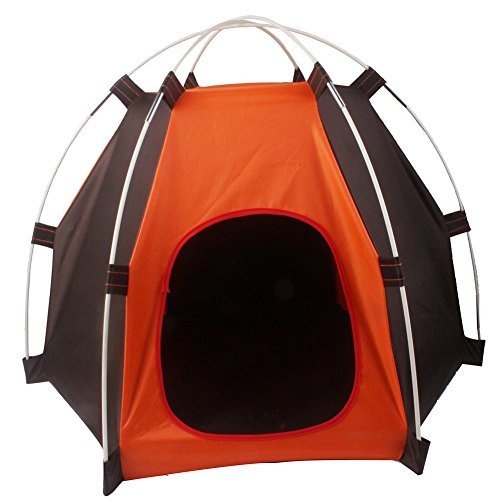 Loghot Portable Folding Pet House Tent for Small Medium Dogs Cats Bed Tent Indoor Outdoor (Orange/Coffee, 27.6x23.6x21.7 Inches)