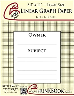 linear graph paper 1 10 grid ucl0l 400 pages legal size mighty
