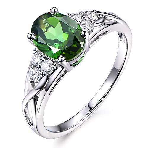 - Unique Women's Jewelry Solid 14K White Gold Natural Green Tourmaline Diamond Engagement Band Ring
