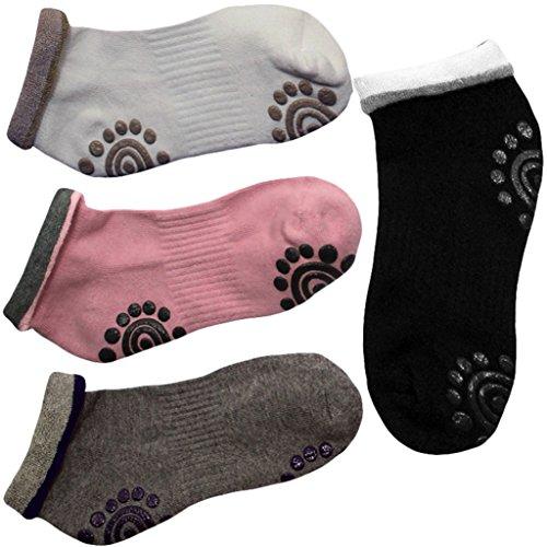 SUMERSHA 4 Pair Silicone Dot Cotton Non Slip Winter Yoga Socks for Women