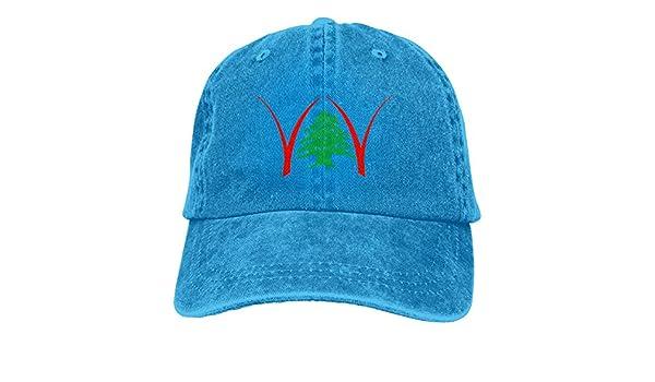 fe7c6c19e4c Amazon.com  XKAWPC Lebanon Cedrus Washed Baseball Cap Trucker Hat Adult  Unisex Adjustable Dad Hat Blue  Clothing