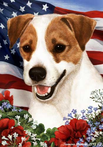 Jack Russell Dog Breed Patriotic House Flag 28 x 40 Inches