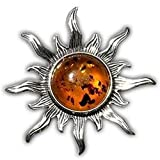 Ian and Valeri Co. Baltic Amber Round Sterling Silver Sun Pin