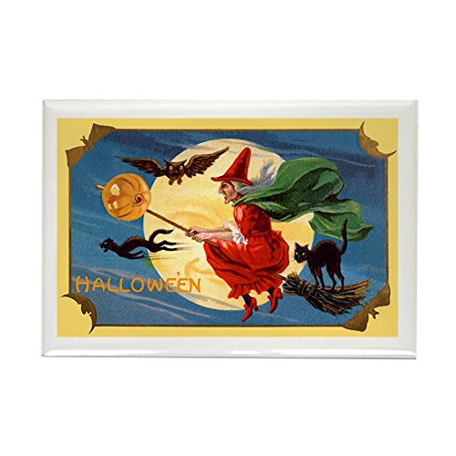 (CafePress Halloween Flying Witch Rectangle Magnet, 2