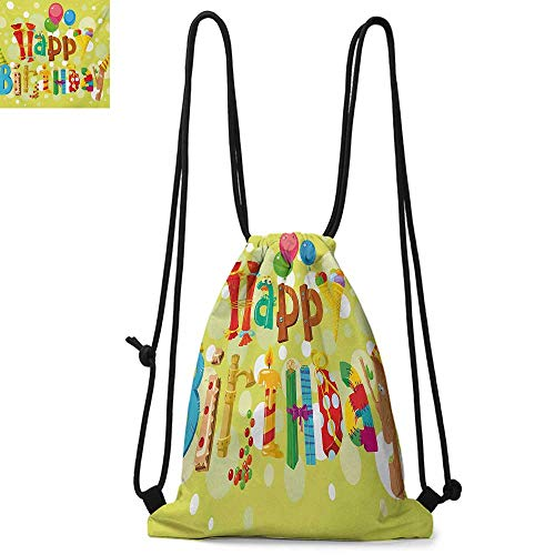 BirthdayPortable drawstring backpackHappy Birthday in Cute Shapes Funny Figures with Ice Cream Candies and BalloonsWaterproof drawstring backpack W17.3 x L13.4 Inch -