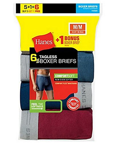 Hanes Mens TAGLESS Boxer Briefs with Comfort Flex Waistband 6-Pack (Includes 1 Free Bonus
