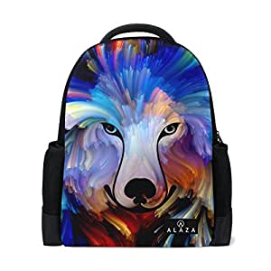 Mydaily Dog Colorful Painting Backpack 14 inch Laptop Daypack Bookbag for Travel College School