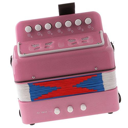 7 Tasten Kinder Knopfakkordeon Musikinstrument Pädagogisches Spielzeug - Rosa
