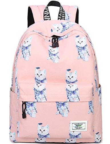 Bookbags for Teens, Cute Animal Cat/Kitty Laptop Backpack School Bags Travel Daypack Handbag by Myrgeen(Pink) - Kitty School Bag