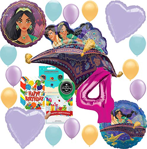 Aladdin Princess Jasmine Party Supplies Birthday Balloon Decoration Deluxe Bundle with Birthday Card and Happy Birthday Candy Treat Bags for 4th Birthday -