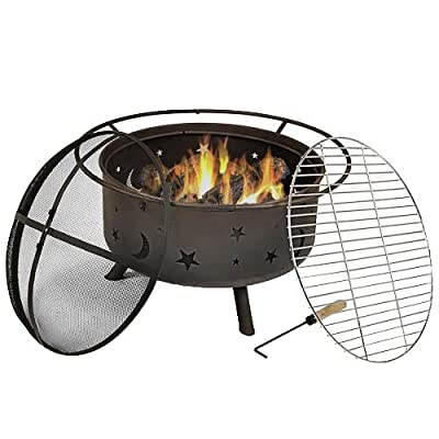 Sunnydaze Cosmic Outdoor Fire Pit Set with Cooking Grill and Spark Screen, Patio Wood Burning Round Firepit Bowl, 30 Inch