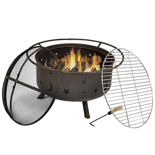 Sunnydaze Cosmic Outdoor Fire Pit - 30 Inch Round Bonfire Wood Burning Patio & Backyard Firepit for Outside with Cooking BBQ Grill Grate, Spark Screen, and Fireplace Poker, Celestial Design (Fireplace Outdoor Grates)