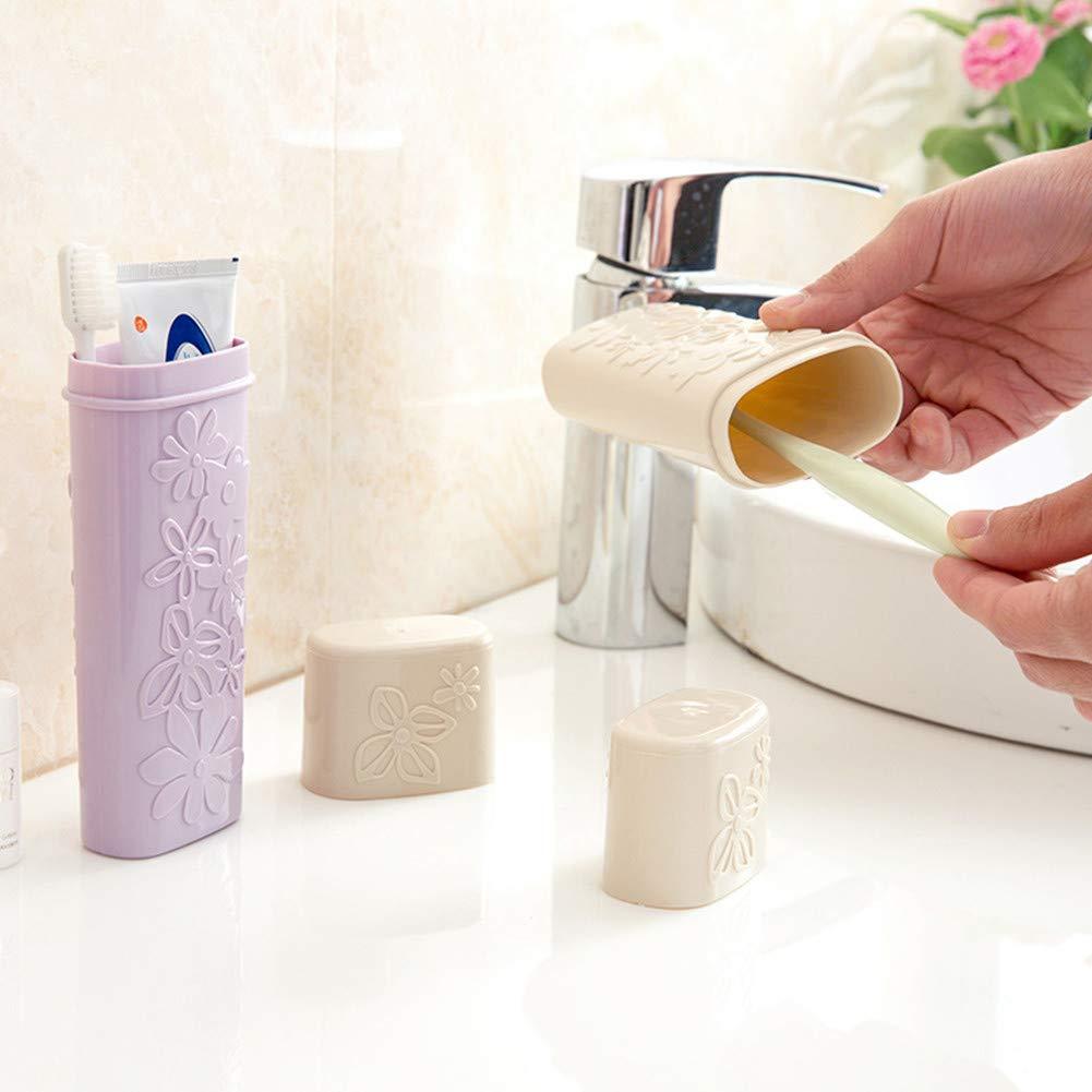 Ototon Porta spazzolini da Denti in plastica Portatile Multifunzione scocca di Protezione per Viaggio Campeggio Blu