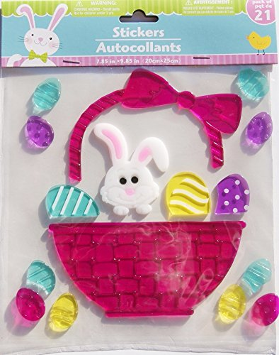 Spring Easter Eggs and Bunny Basket Gel Window Clings - 16 Piece (Decorations Gel Window)