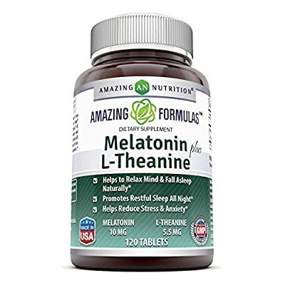 Amazing Formulas Melatonin plus L-Theanine Dietary Supplement - 120 Tablets - Promotes Restful, All-Night Sleep - Helps Reduce Anxiety and Stress