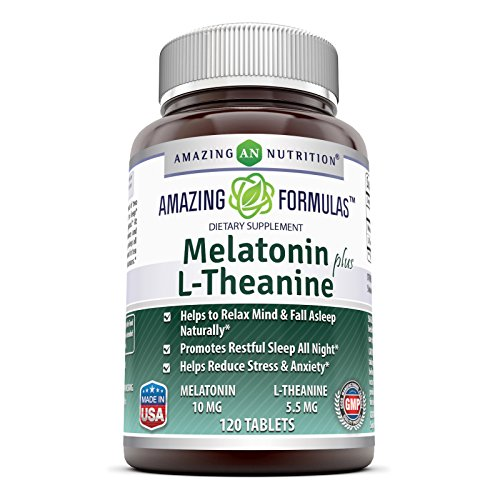 Amazing Nutrition Amazing Formulas Melatonin plus L-Theanine Dietary Supplement - 10 mg - 120 Tablets - Promotes Restful, All-Night Sleep - Helps Reduce Anxiety and (Melatonin Plus Vitamin)