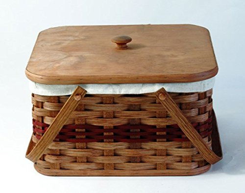 Amish Handmade Large Square Double Pie Basket w/Inside Tray, Lid, and Two Swinging Carrier Handles with LINER in RED