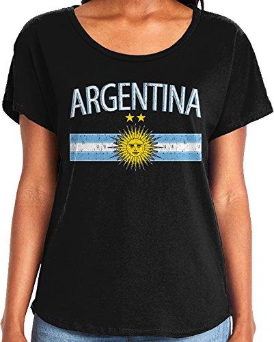 Amdesco Ladies Argentina Flag with Argentine Sun Crest Dolman T-Shirt