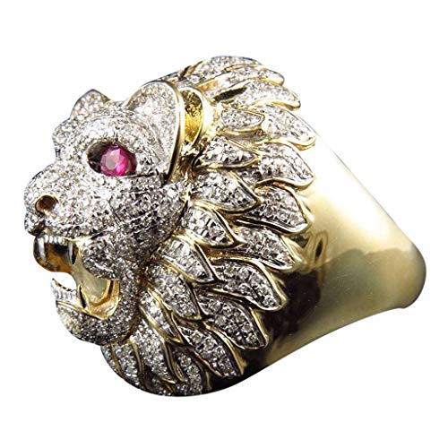 (Lethez Men Fashion Punk Style Lion Head Gold Filled Natural Ruby Gemstone Diamond Ring Hip Hop Jewelry (Multicolor, 7) )