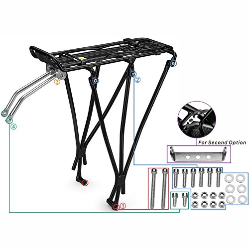 Flexzion Bike Rear Rack Mount - Bicycle Back Seat Pannier Luggage Backpack Cargo Basket Carrier with Taillight Mount Lightweight Aluminum for Road MTB Mountain Folding Bike 55 lbs Capacity by Flexzion (Image #6)