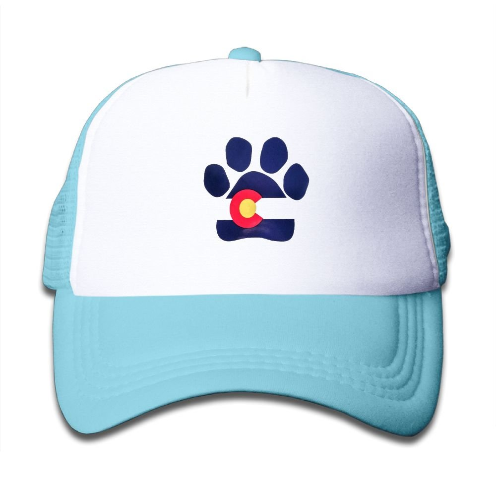 Paw Pattern Colorado Flag Mesh Cap Toddler Truckers Hat Boy and Girl