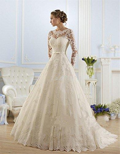 HAPPYMOOD Vestido de novia Mujer Apliques de encaje joya Mangas largas Capilla de tren Una línea Vestido de novia Vestido de...