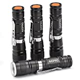 AUOPRO Mini Zoomable Handheld LED Flashlight with 3 Modes, Pack of 4