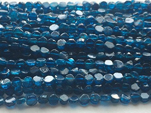 - JP_Beads 1 Strand Natural Neon Blue Apatite Plain Coin Beads, Apatite Gemstone, Neon Apaptite Necklace, 5mm Approx, 13 inch