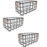 Shabby Chic French Country Rectangular Wire Baskets Black With Copper Handles - Storage, Organization, Kitchen, Home, Decor - Set of 3