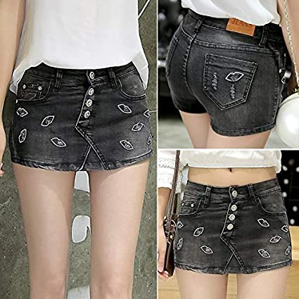 e6f5ee863b6e2 Image Unavailable. Image not available for. Color  HeroStore Skort Shorts  Denim Korean Style Plus Size Women s Skorts Skirt ...