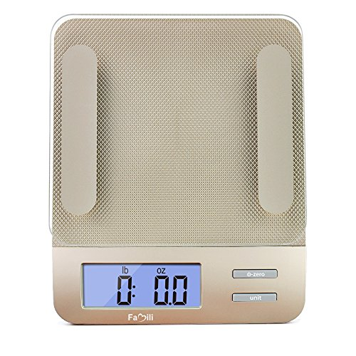 Famili-FM207-Accurate-Digital-Kitchen-Food-Weighing-Scale-Measuring-Gram-Diet-Scale-with-Tempered-Glass-11-lb5kg-Weight-Capacity-Champagne-Gold