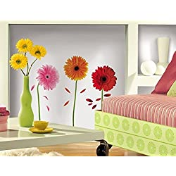 Lunarland GERBER DAISIES 8 BiG Wall Stickers DAISY FLOWERS Room Decor Decals Pink Red