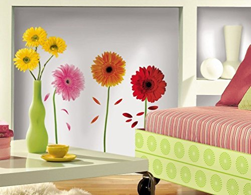 Lunarland GERBER DAISIES 8 BiG Wall Stickers DAISY FLOWERS Room Decor Decals (Gerber Daisy Border)