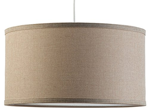Linea di Liara Messina One-Light Drum Pendant Lamp, Natural Linen Shade with Chrome Canopy (Natural Iron Finish Bath)