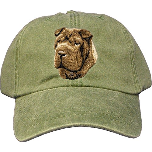Cherrybrook Dog Breed Embroidered Adams Cotton Twill Caps - Spruce - Chinese Shar Pei