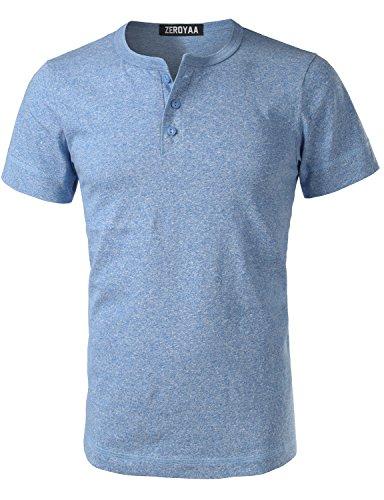 ZEROYAA Mens Hipster Heavyweight Basic Henley Slim Fit Short Sleeve V Neck T Shirts Tops Z7-Sky Blue (Blue Sky Heavyweight T-shirt)
