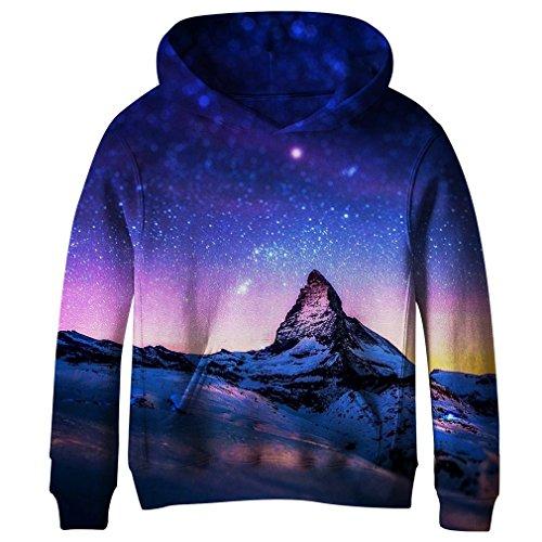 SAYM Teen Boys' Galaxy Fleece Sweatshirts Pocket Pullover Hoodies 4-16Y NO26 XL (Hoodie Girls Fleece Sweatshirt)