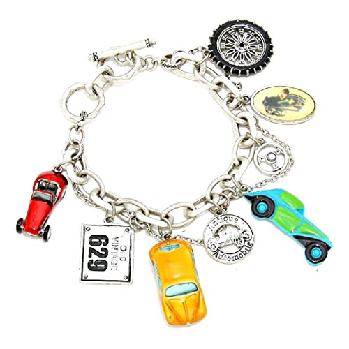 Chunky Antique Bracelet - Chunky Antique Car Charm Bracelet BN Antique Silver Tone Car License Plate Wheel