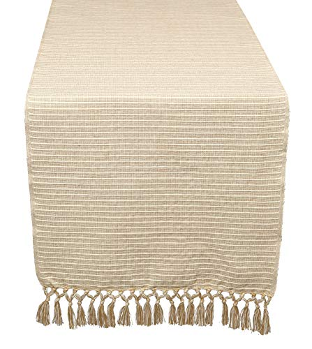 Everyday Table Runner, 100% Cotton, for Family Dinners or Gatherings, Indoor or Outdoor Parties & Everyday Use (14x90) Unique Hand Knotted Decorative Fringes, 2 Pack Linen