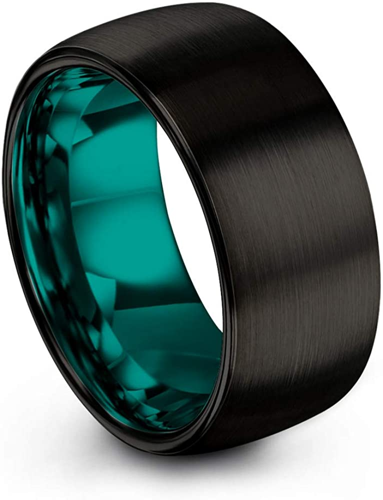 Chroma Color Collection Tungsten Carbide Wedding Band Ring 10mm for Men Women Green Red Blue Purple Black Copper Fuchsia Teal Interior with Dome Brushed Polished