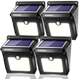 Solar Motion Sensor Lights Outdoor, ZOOKKI 28 LEDs Waterproof Solar Powered Wall Lights, Wireless Security Night Lights for Outdoor Garden Patio Yard Deck Garage Driveway Porch Fence 4 Pack