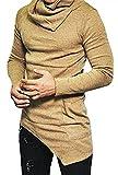 LifeHe Men Fashion Hip Hop Turtle Neck Long Sleeve T Shirt Top (L, Khaki)