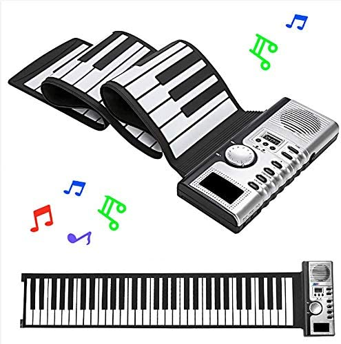 HLKYB 61 Keys Roll Up Piano Upgraded Portable Rechargeable Electronic Hand Roll PianoEnvironmental Silicone Piano Keyboard for Beginners / HLKYB 61 Keys Roll Up Piano Upgraded Portable Rechargeable Electronic Hand Roll PianoEnviron...