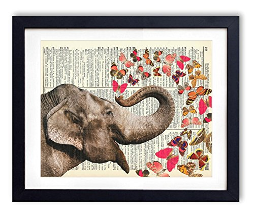 Elephant With Butterflies  Upcycled Vintage Dictionary Art P