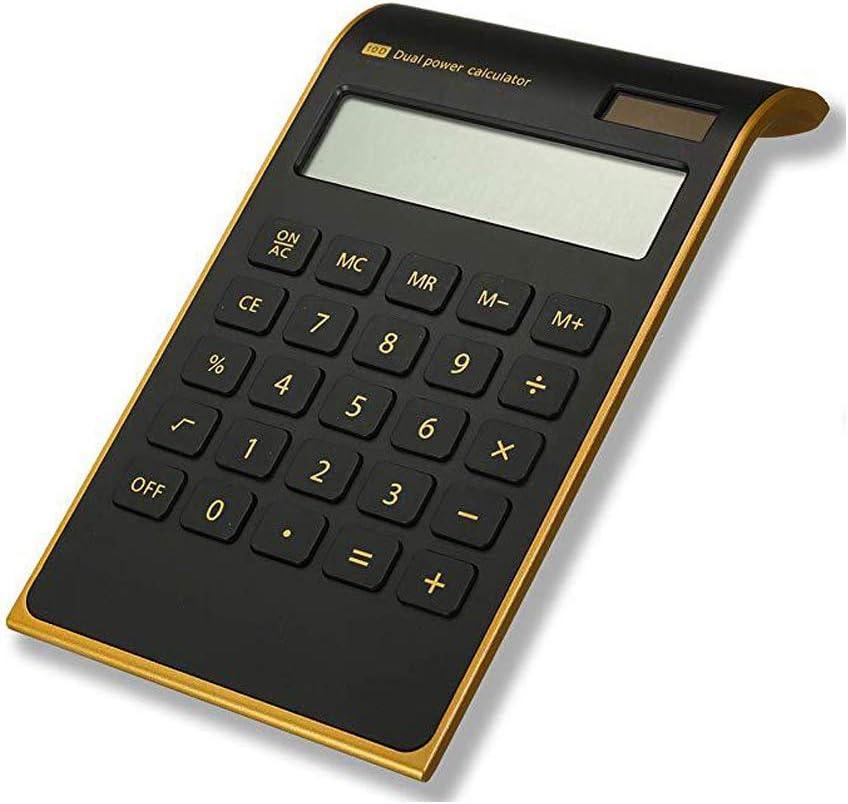 Alician Office Solar Calculator Energy Saving Ultra-Thin Gold Frame Office Calculator Black