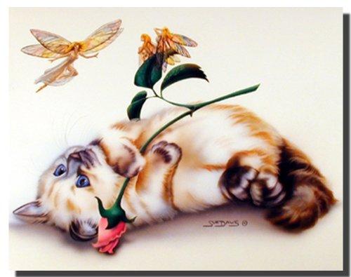 (Funny Kitten Cat Wall Decor Fairy Small Wonder Rose Painting Art Print Poster)