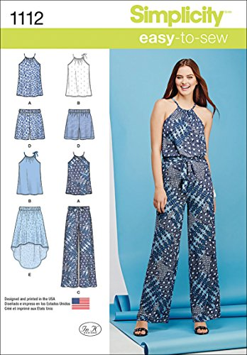 Simplicity 1112 Learn to Sew Top, Pants, and Skirt Sewing Pattern for Women, Sizes 4-12