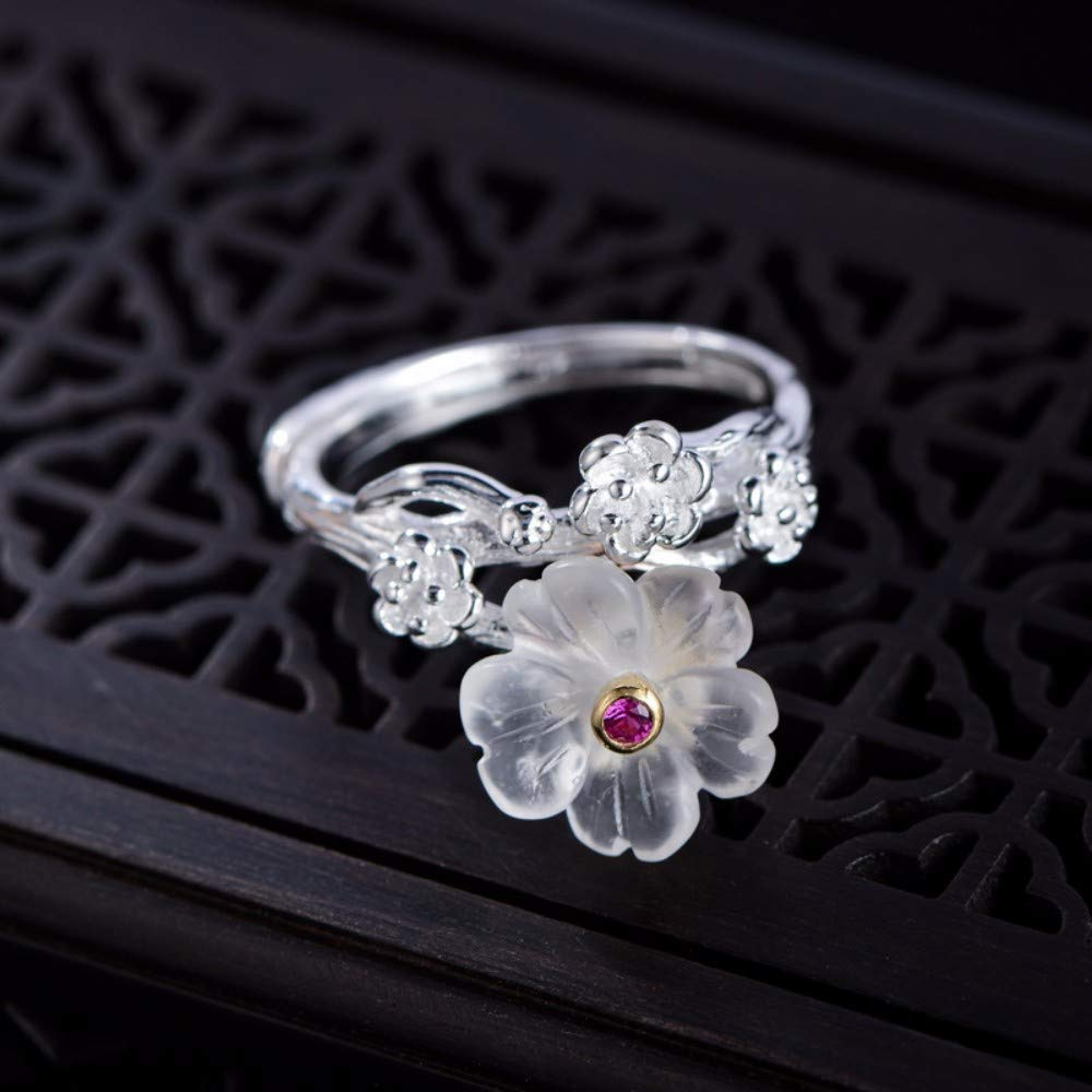 THTHT Vintage S925 Silver Ring Womens Opening Crystal Flower Fashion Creative Gift Personality