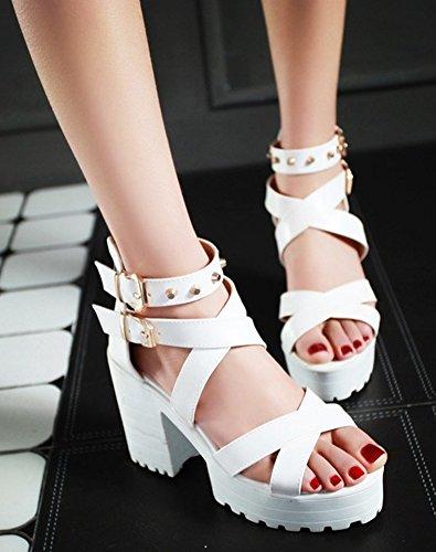 Heels Easemax Womens White Chunky Buckle Two Dressy Sandals High qYqg4Hw