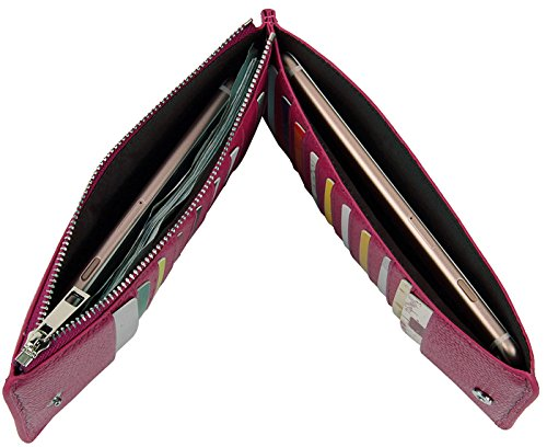 Lecxci Women's Slim Genuine Leather RFID Blocking Travel Credit Card Case Zipper Wallets Purses for Women (Light Purple)
